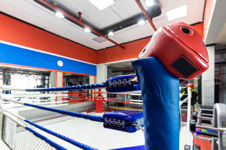 Boxing ring in the interior of the gym.