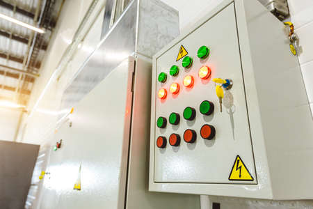 Production power control unit. Factory automation and electrical safety Фото со стока