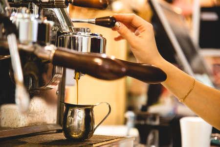 female Barista Cafe Making Coffee Preparation Service Concept