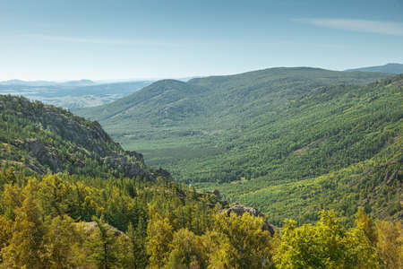 evergreen fir forest on a hilltop among the mountains of the National Park of the Republic of Bashkortostan on Lake Bannoye
