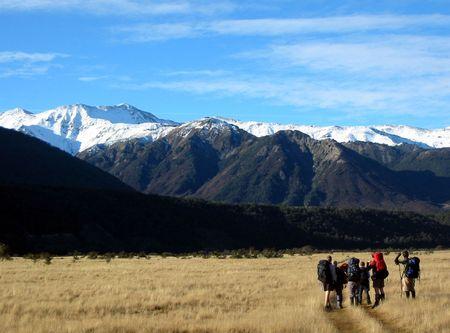 tramping: Los excursionistas en Arthur's Pass Pational Park