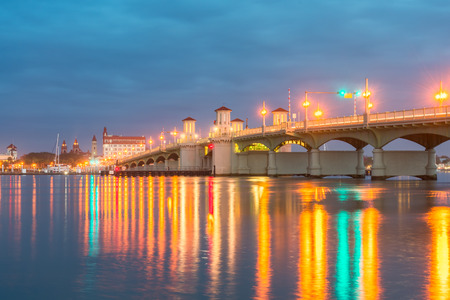 augustine: The historic Bridge of Lions connects downtown Saint Augustine with Anastasia Island.  This magnificent double-leaf bascule bridge opened in 1927. Stock Photo