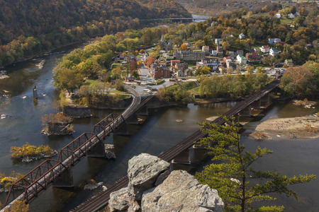 confluence: Aerial view of Historical Harpers Ferry, West Virginia as seen from MAryland Heights.  Harpers Ferry, located at the confluence of the Potomac and Shenandoah Rivers,  was the site of key Civil War fighting. Stock Photo