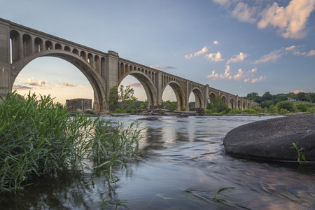railway transportation: The railroad bridge across the James River near Richmond, Virginia is a vital transportation link. Stock Photo