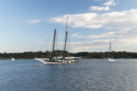 md: Chestertown, MD – October 30, 2015: Lady Maryland on the move on Chester River during Sultana Education Foundation Downrigging Weekend Festival.