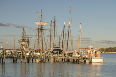md: Chestertown, MD – October 30, 2015: Tall sailing ships docked at marina during Sultana Education Foundation Downrigging Weekend Festival.