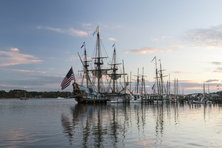 md: Chestertown, MD – October 30, 2015: Tall sailing ships, icluding the Pride of Baltimore II and the Kalmar Nyckel,  docked at marina during Sultana Education Foundation Downrigging Weekend Festival. Editorial