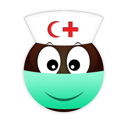 Smiley african nurse red cross and crescent in a medical bandage on the lips against bacteria. Communication on the Internet and social networks about the epidemic. Medical worker on a white backgroun