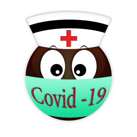 Emoticon of a red cross nurse in a medical bandage on the lips against bacteria. Communication on the Internet and social networks about the epidemic. Medical worker on a white background. Coronovirus