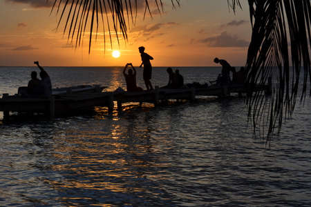 Landscapes and locations of the small coral island Caye Caulker, located in the Caribbean Sea, off the coast of Belize