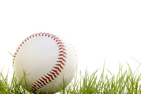 baseball in the grass isolated on a white background Stock Photo