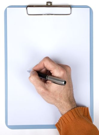 hand writing on a clipboard with blank paper photo