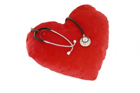 stress testing: red heart with stethoscope