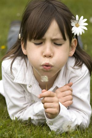 young girl blowing a dandelion photo