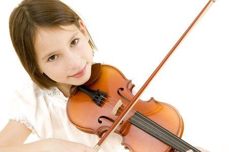 violist: jong meisje met viool geïsoleerd op witte achtergrond Stockfoto