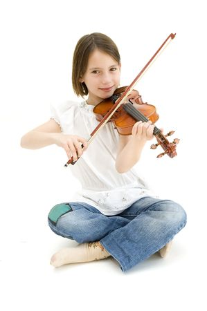 young girl with violin isolated on white background photo