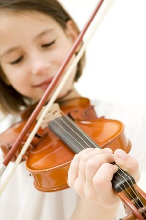 young girl with violin isolated on white background