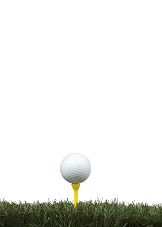 golf ball in the tee isolated on white