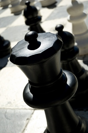 life-size chessboard on the street Stock Photo - 9728375