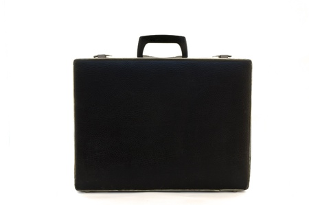 attache: old blak briefcase isolated on white