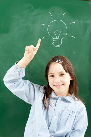 girl with blackboard and lightbulb over her head