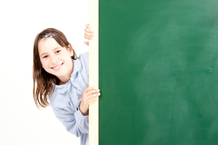 girl with blackboard  photo