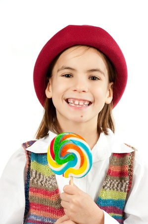 little girl with lollipop isolated on white Stock Photo - 12173744