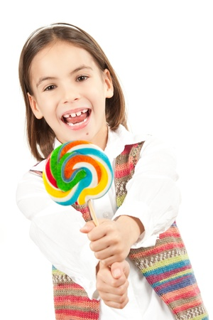 little girl with lollipop isolated on white Stock Photo - 12173672
