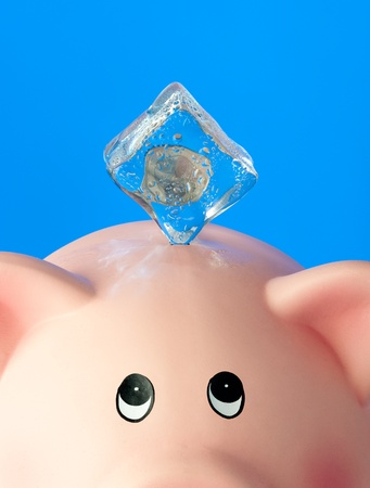 piggy bank with frozen euro coin photo