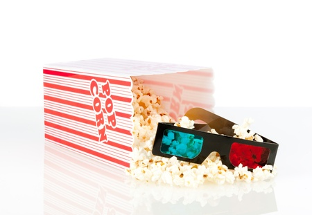 popcorn box with 3d movie glasses on a white background photo