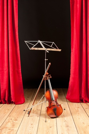 string instrument: violin on stage theater