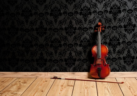 classical violin in vintage background