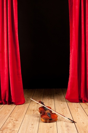 violin on stage theater photo