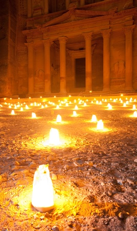 walk by night to Petra Treasury with candle illumination photo