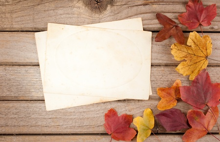 wood background with autumn leaves and old paper photo