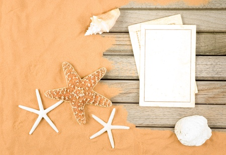 old blank cards in a beach background Stock Photo