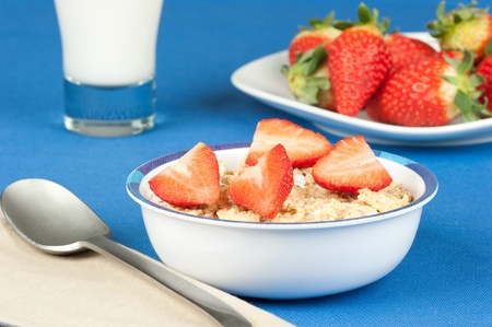 breakfast with flakes and strawberry photo