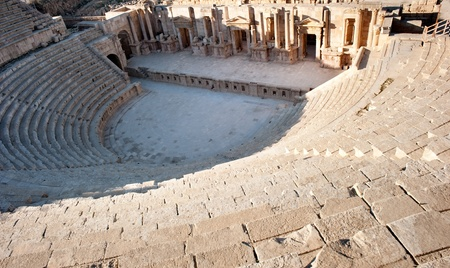 Amphitheater of the roman city of Jerash at Jordan Stock Photo - 12173850