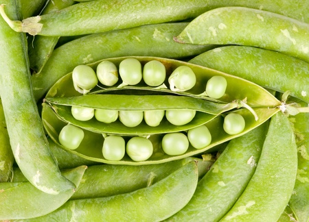viands: pods of green peas Stock Photo