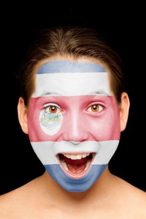 bandera de costa rica: Retrato de niña con Costa Rica bandera pintada en su cara