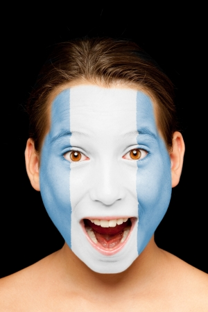 guatemala: portrait of girl with guatemalan flag painted on her face Stock Photo