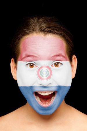 bandera de paraguay: Retrato de ni�a con Paraguay bandera pintada en la cara