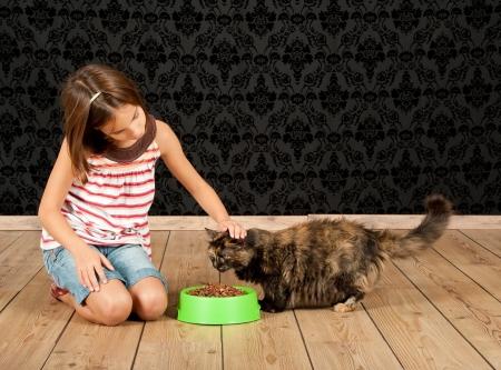 meisje voeden van een kat Stockfoto
