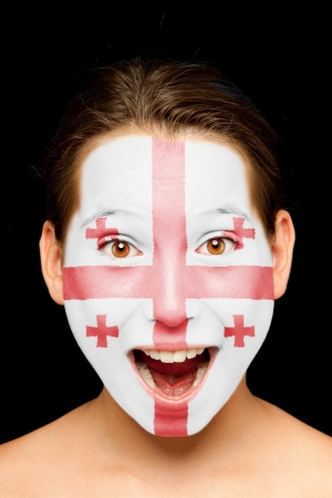 portrait of girl with georgian flag painted on her face Stock Photo - 17588610