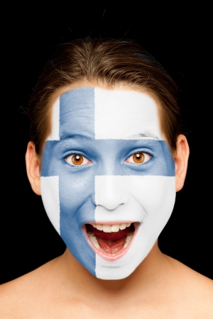 finnish: portrait of girl with finnish flag painted on her face Stock Photo