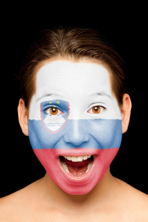 slovenian: portrait of girl with slovenian flag painted on her face