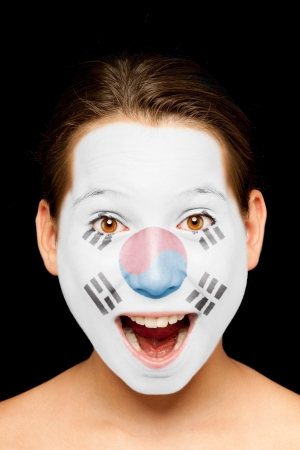 portrait of girl with south korean flag painted on her face Stock Photo - 17588608