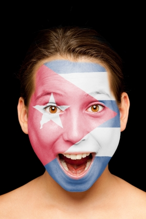 portrait of girl with cuban flag painted on her face Stock Photo - 17588637