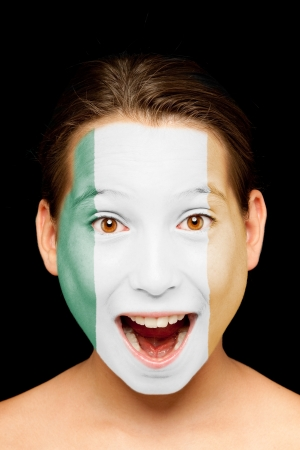 portrait of girl with irish flag painted on her face Stock Photo - 17588611
