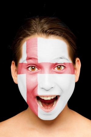 face paint: portrait of girl with england flag painted on her face
